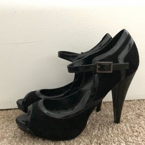 Peep-toe AlDO heels. 4.5 inches tall.